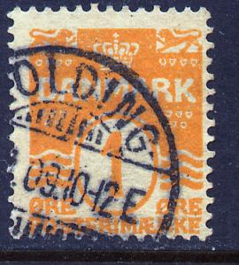 Denmark 57, 1o Wavy lines design. Used. (215)