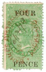(I.B) New Zealand Revenue : Stamp Duty 4d (reversed watermark)