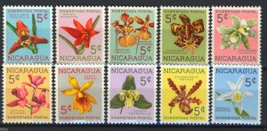Nicaragua 1962, Flowers Orchids Postal Tax set, Sc RA66-75 MNH