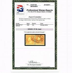 EXCEPTIONAL GENUINE SCOTT #497 USED COIL LINE PAIR PSE CERT GRADED VF-80  #9668