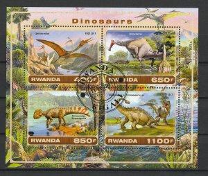 Rwanda Used S/S Dinosaurs 2017