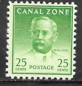 Canal Zone 140: 25c Wallace, dry printing, MNH, F-VF