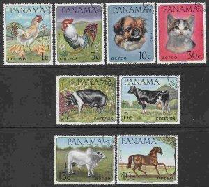 Panama #475-5C, C353-6 F-VF Used (CTO) Domestic Animals