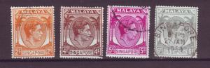 J21348 Jlstamps 1949-52 singapore used #2a,4a,5,6a king perf 18