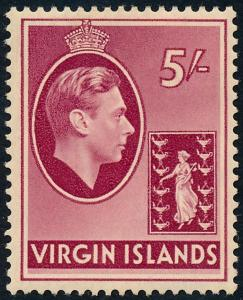British Virgin Islands 1942 5s Carmine SG119a MH