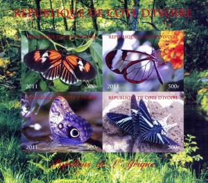 Butterflies of AFRICA Sheet Imperforated Mint (NH)