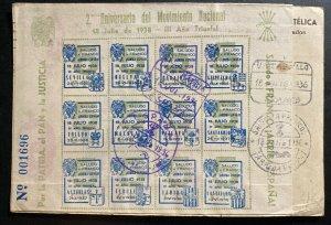 1946 San Sebastian Spain Souvenir Sheet Postcard Cover 2nd National Movement