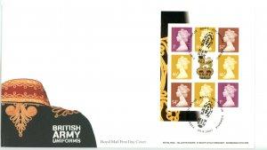 Great Britain 2007 FDC British Army Uniforms Machin Booklet Pane Sc# MH366a