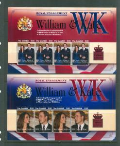 Gambia - Sc# 3341-4. 2011 Kate & Will Engagement. MNH. $27.
