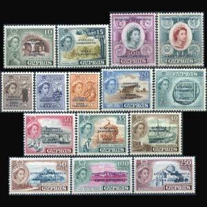 CYPRUS 1960 - Scott# 183-97 Fruits etc.Opt. Set of 15 LH