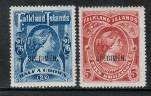 Falkland Islands #20s - #21s (SG #41s - #42s) Very Fine Mint Specimen Overprint