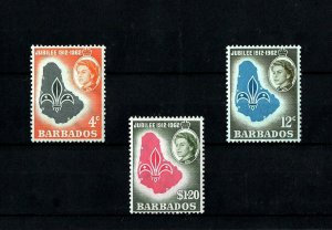 BARBADOS - 1962 -BOY SCOUTS - MAP - EMBLEM - JUBILEE + MINT MNH SET!