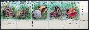 St. Kitts-Nevis #406* NH  CV $7.50  Shells strip of 5