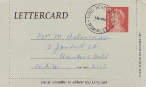 APS33) Lord Howe Is 1977 18c Red QEII Lettercard used 15MR77 to Hunters Hill NSW