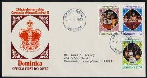 Dominica 570-2 on addressed FDC - Queen Elizabeth 25th Aniv Coronation