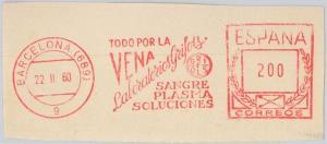 56773 - SPAIN - POSTAL HISTORY: Mechanical Postmark on CUT-OUT: MEDICINE Blood