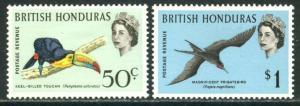 BRITISH HONDURAS Sc#175-176 1962 50c & $1 Birds Defins OG Mint Hinged