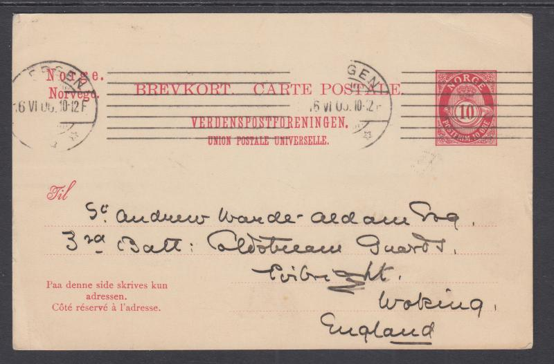 Norway H&G 52 used 1902 10o Postal Card to England, F-VF