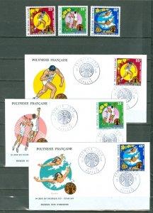 FRENCH POLYNESIA 1978 SPORTS  #C117-19 SET MVLH & FDC(3)