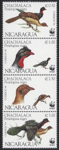 Nicaragua #2067a-d MNH strip of 4, WWF birds, issued 1994