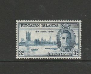 Pitcairn islands 1946 Victory 3d FLAGSTAFF flaw MM SG 10a