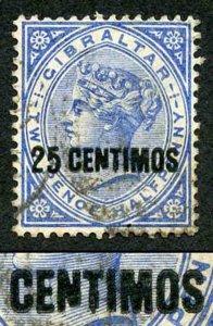 Gibraltar SG18b 1889 25 on 2 1/2d Bright Blue Variety BROKEN N
