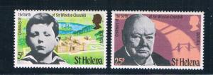 St Helena 285-86 MNH set Churchill 1974 (S0941)