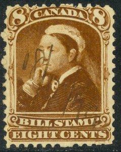 CANADA 1868 QV 8c Brown BILL STAMP REVENUE VDM. FB45 Used