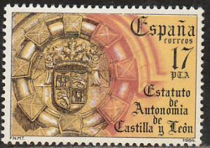 SPAIN 2390, CASTILLA AND LEON AUTONOMOUS STATUTE. MINT, NH. F-VF. (177)