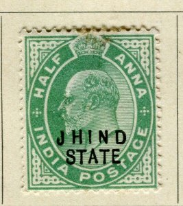 INDIA; JHIND 1903-05 early Ed VII Optd. issue Mint hinged 1/2a. value