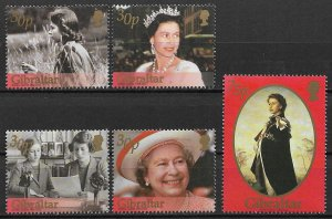 2002 Gibraltar 896-900 Queen Elizabeth Reign 50th Anniv. C/S of 5 MNH