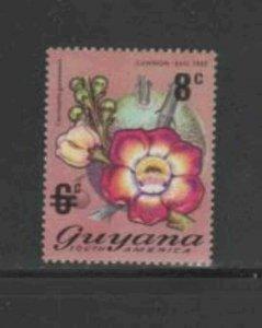 GUYANA #192 1974 8c on 6c FLOWER MINT VF NH O.G
