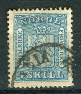 NORWAY; 1863 early classic Skilling issue fine used 4sk. value