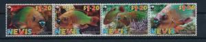 Nevis MNH Strip 1510A Rainbow Parrot Fish WWF 2017