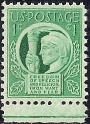 908 1 cent Four Freedoms Stamp mint OG NH EGRADED XF-SUPERB 97 XXF