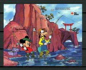 GAMBIA - 1991 - DISNEY - MICKEY - GOOFY - ANGLE FISHING - JAPAN - MNH S/SHEET!