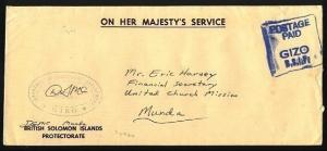 SOLOMON IS c1980 local OHMS cover boxed POSTAGE PAID GIZO BSIP...,........95627a