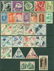 EDW1949SELL : MONACO 3 Better VF MNH Cplt sets from the 1950s. Scott Cat $245.00