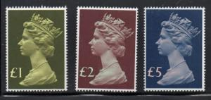 Great Britain Sc MH169, 175-6 1977 High Value Machin Head stamps mint NH