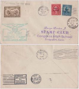 Canada to Usa & Hawaii Prior to Statehood-Unusual and Rare First Flight Mailing