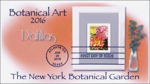 2016, Botanical Art, FDC, BW Postmark, Dahlias, 16-033