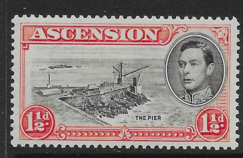 ASCENSION SG40a 1938 1½d BLACK & VERMILION WITH DAVIT FLAW MTD MINT