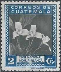 Guatemala 293 (used, small scrape) 2c white nun orchid, national flower (1939)