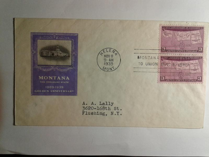 SCOTT # 858 FIRST DAY OF ISSUE ANNIVERSARY OF STATEHOOD  1939 NICE CACHE !!