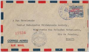 TRAINS  - POSTAL HISTORY - COSTA RICA: AIRMAIL COVER to BRAZIL 1945
