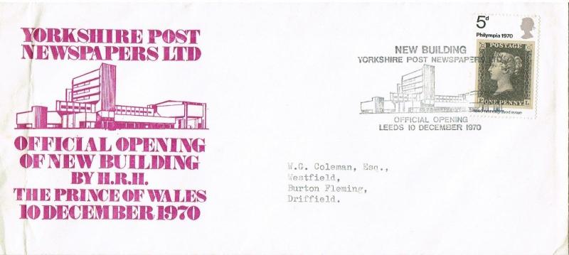 GREAT BRITAIN 1970 - OPENING OF NEW BUILDING FOR YORKSHIRE POST - SOUVENIR COVER