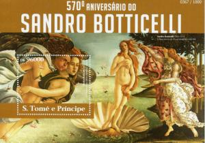 Sao Tome & Principe 2015 MNH Sandro Botticelli 570th 1v SS Birth of Venus Stamps