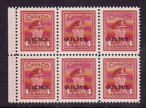 Canada-O4i-block of 6 two official strips showing narrow spacing variety in