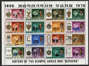 NORTH KOREA MINISHEET HISTORY OF THE OLYMPIC GAMES & WINNERS