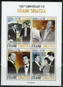 SIERRA LEONE 2020  105th  ANN OF FRANK SINATRA WITH JFK  & ELVIS SHEET MINT NH